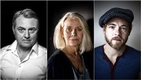 billedcollage med protrætter af skuespillerne Jens Jørn Spottag, Kirsten Olesen og Paw Henriksen