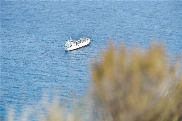 Et stort skib fotograferet ude på havet. I forgrunden er en form for busk, så man kan fornemme at det store skib ikke er langt fra land.