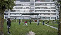 børn leger på græsplæne i Vollsmose