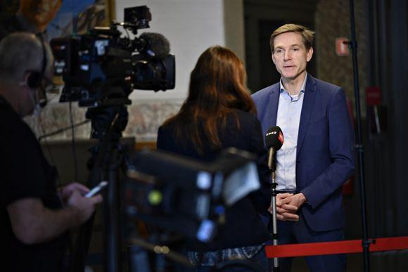 Kristian Thulesen Dahl interviewes på Christiansborg