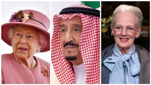 collage af Elizabeth, Salman og Margrethe