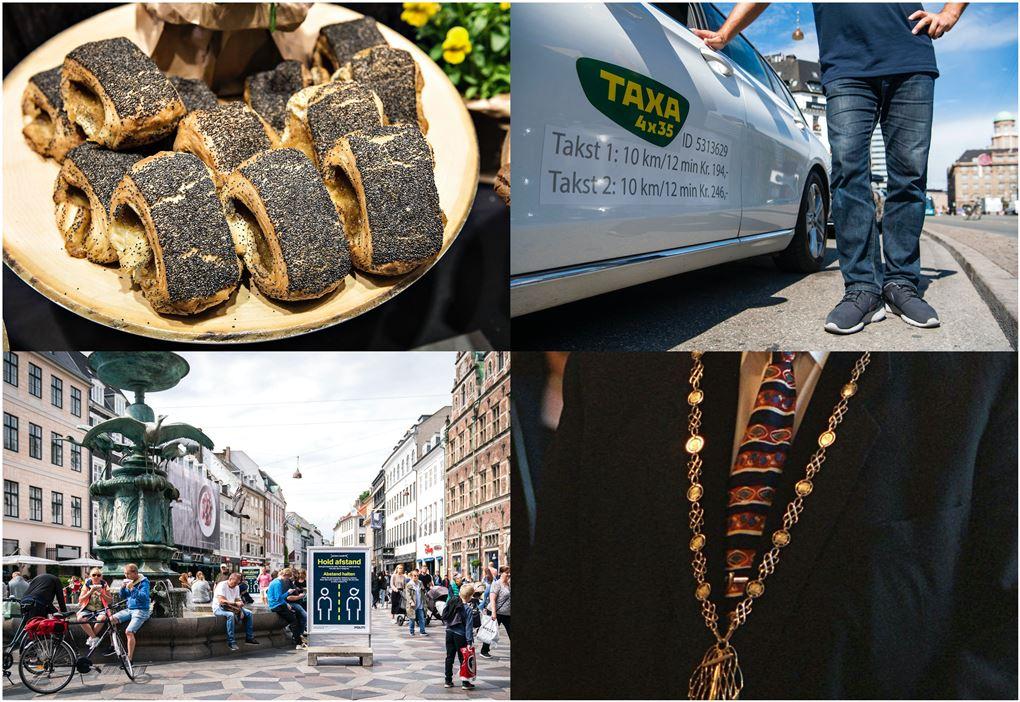 En collage med Strøget/tebirkes/borgmesterkæde og en taxa