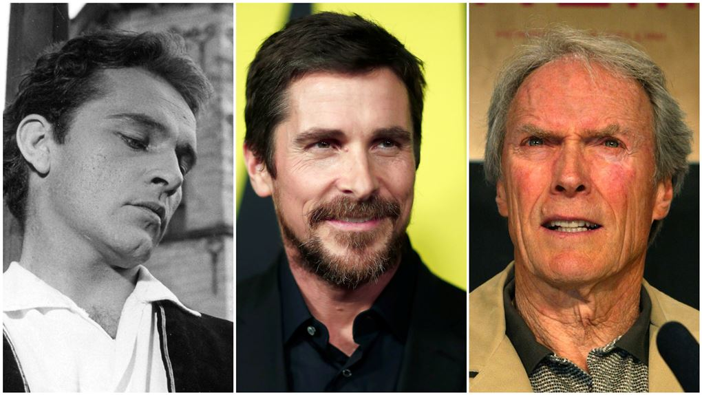 collage med Richard Burton, Christian Bale og Clint Eastwood