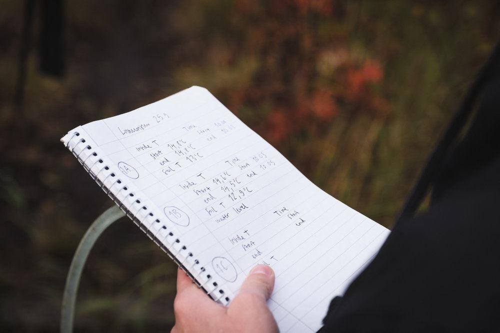 Blok med håndskrevne noter