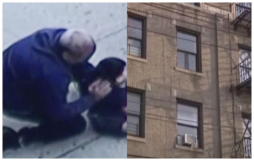 En bygning og en dreng på fortovet