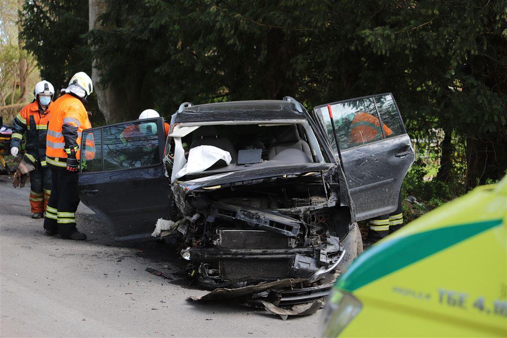 billede af den smadrede bil