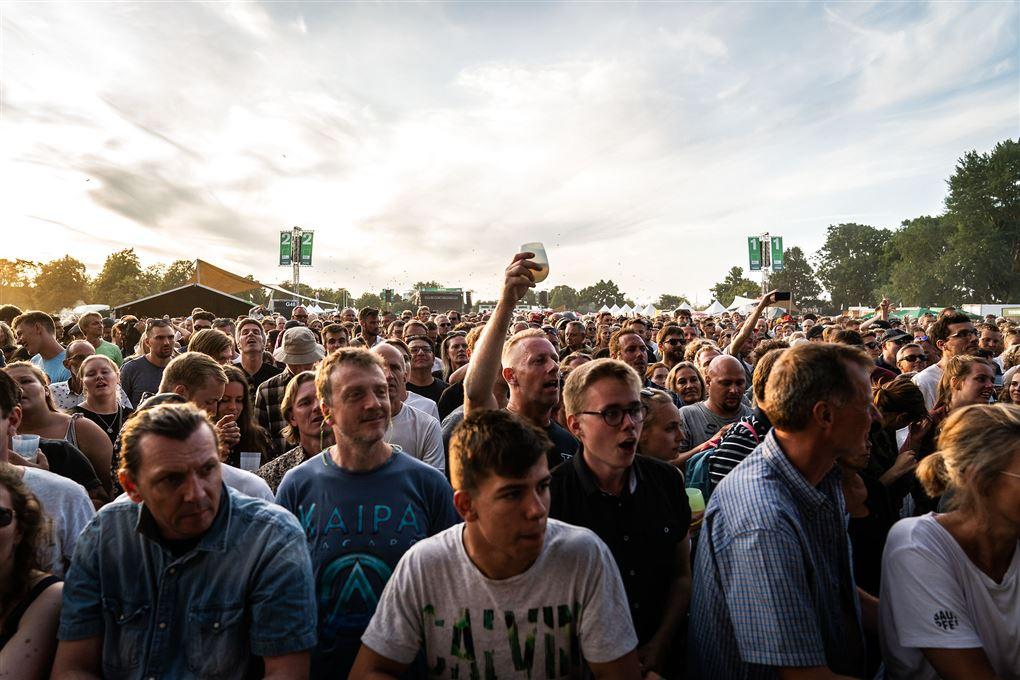 festivalgæster hører musik