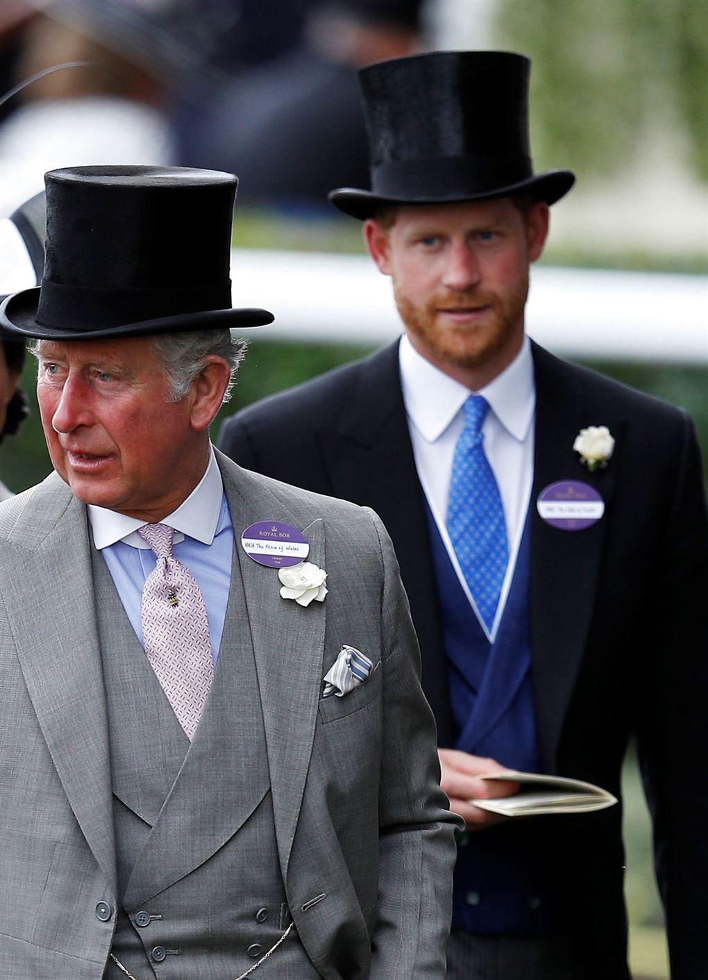 Prins Charles og prins Harry i høje hatte