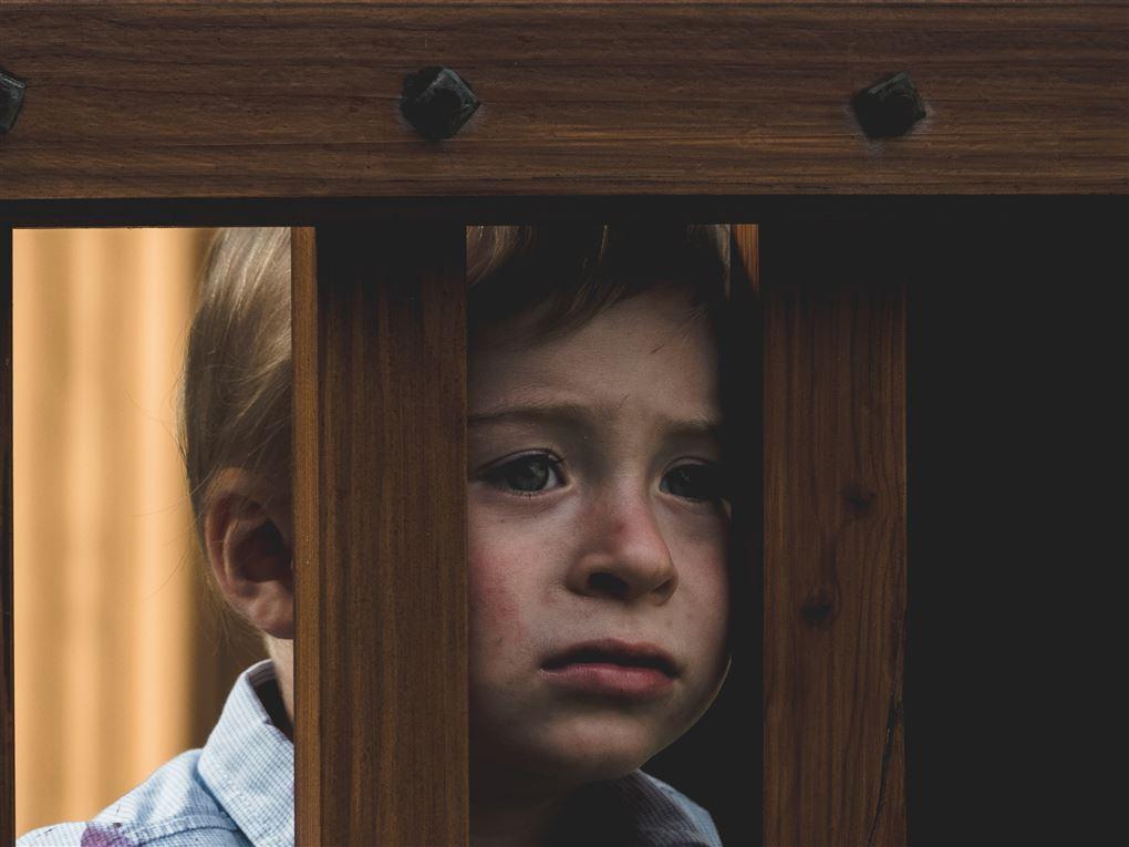 En trist dreng kigger ud af en tremmseng