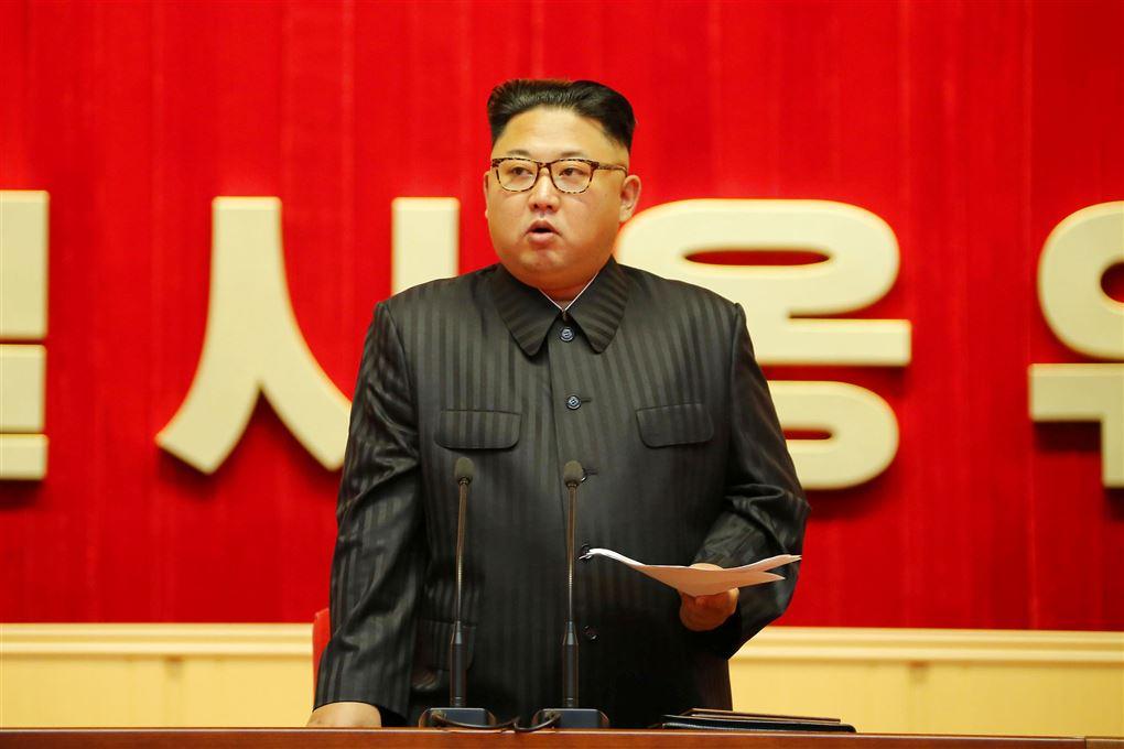 nordkoreas leder kim jung-.un taler