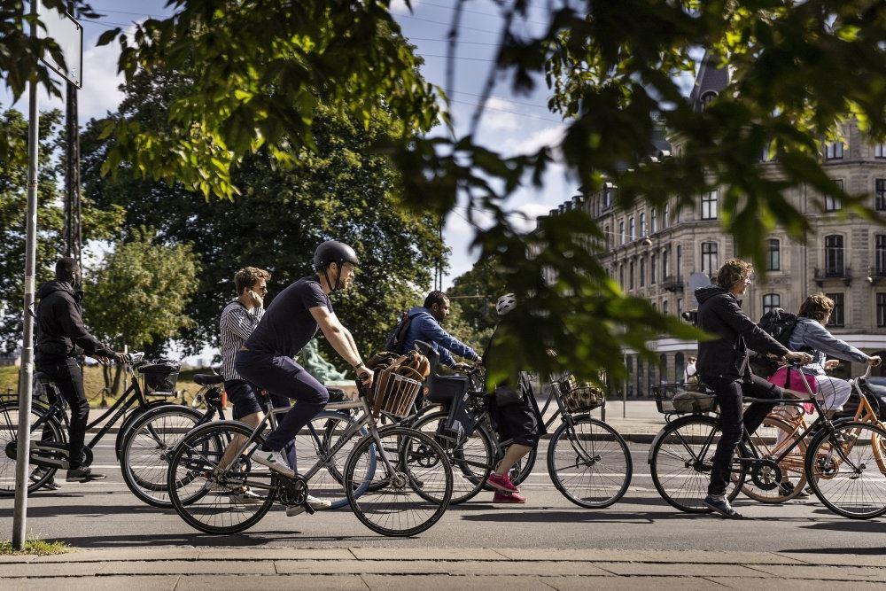 Folk cykler i byen
