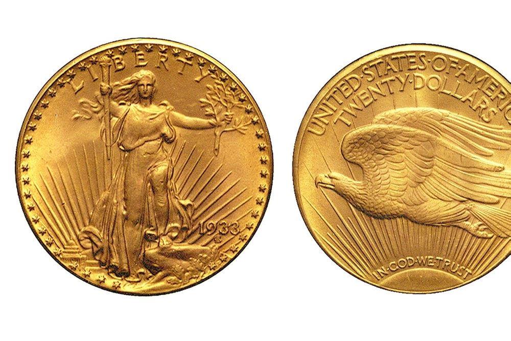 En guldmønt set fra begge sider