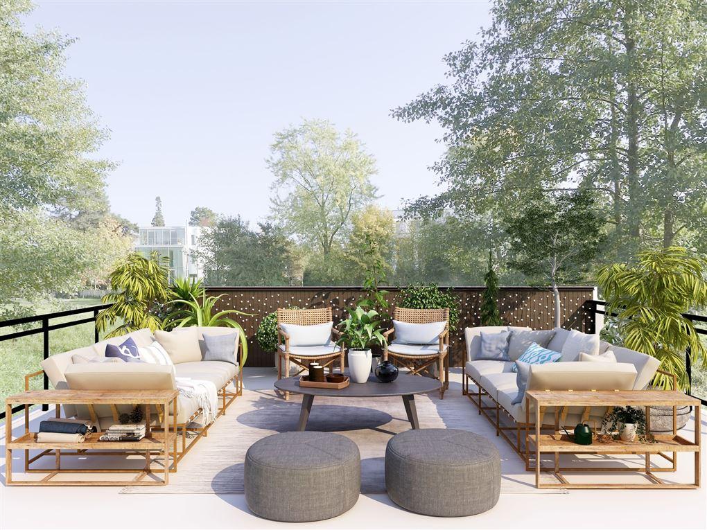 En flot terrasse med smagfulde møbler
