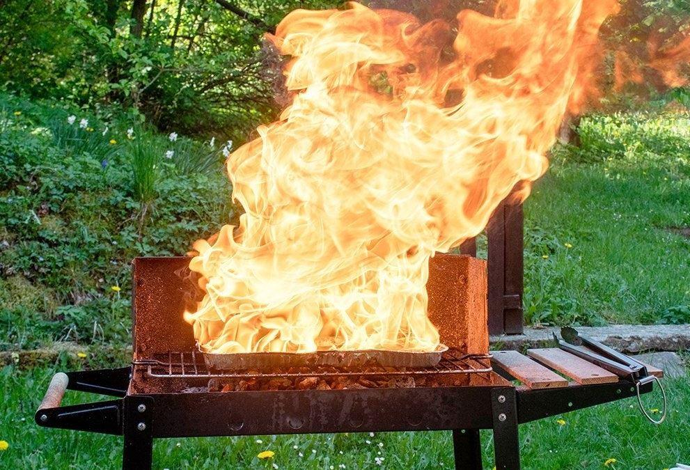 grill med flammer