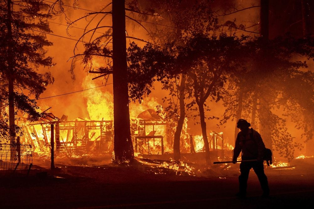 En skov brænder ude af kontrol