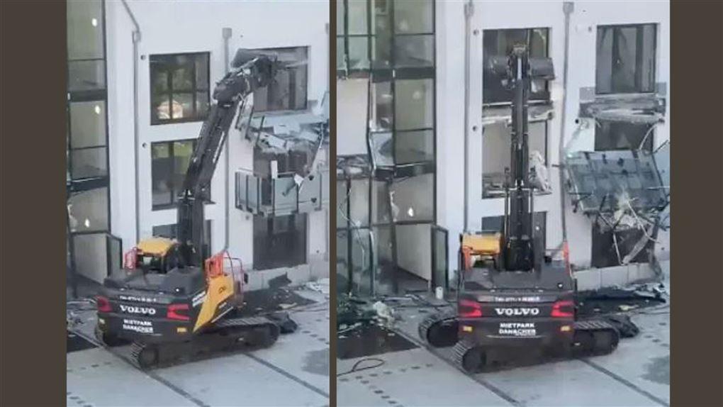 maskinen smadrer bygningen