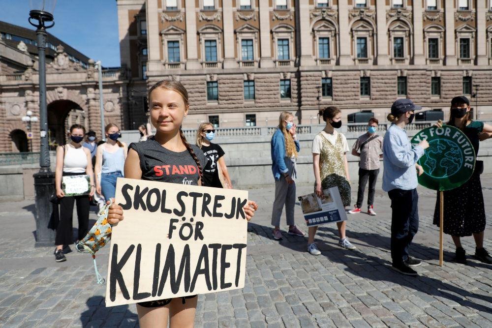 Greta Thunberg i protest på gaden