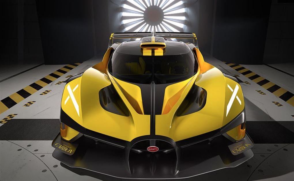 En gul sportsvogn i en vindtunnel