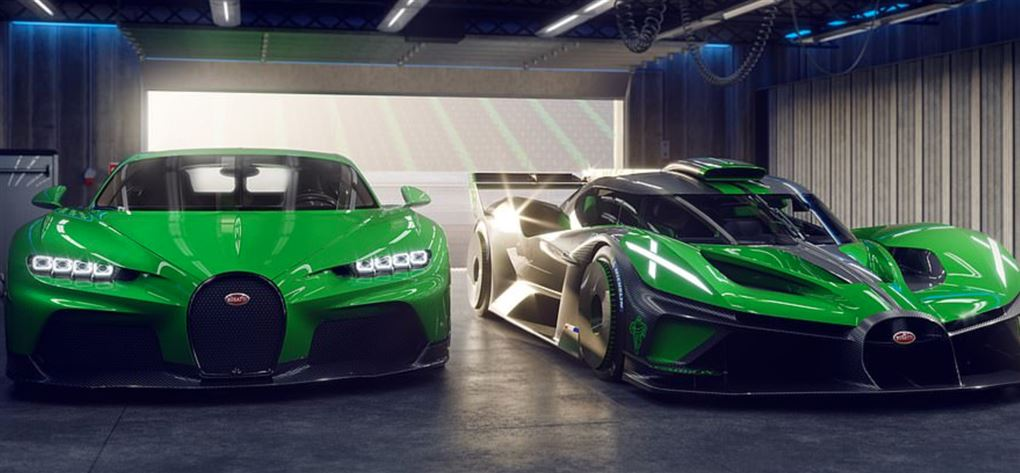 Toi grønne sportsvogne i en garage