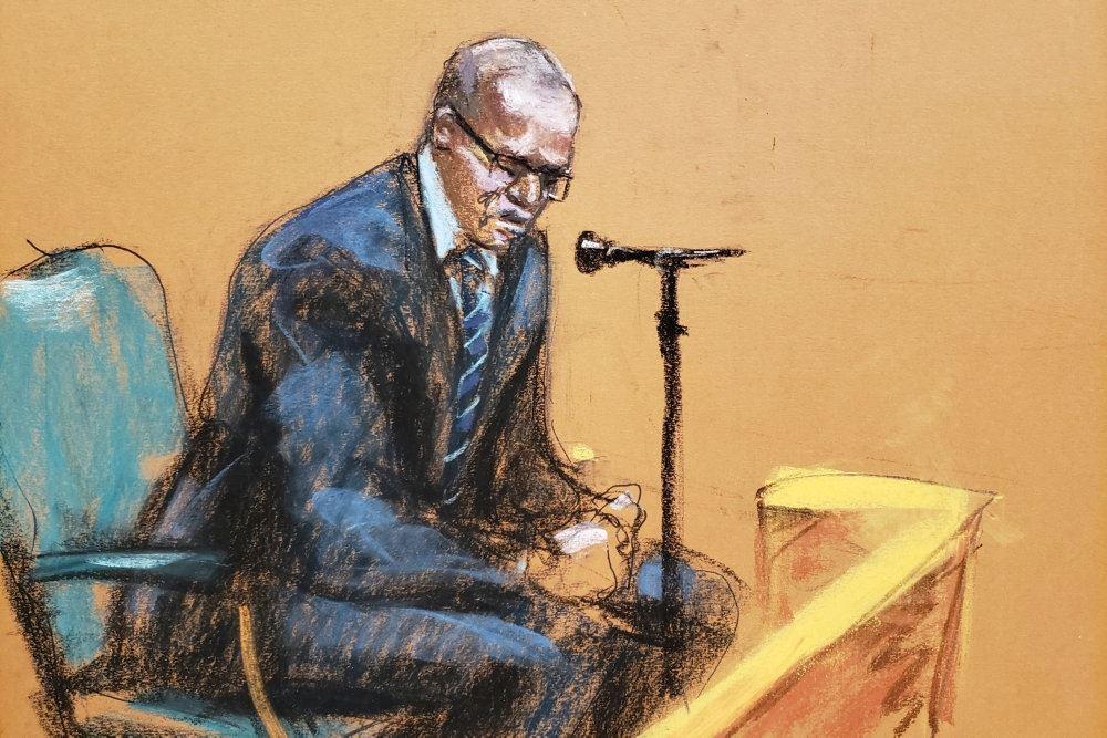 tegning fra retssag mod sangeren R. Kelly