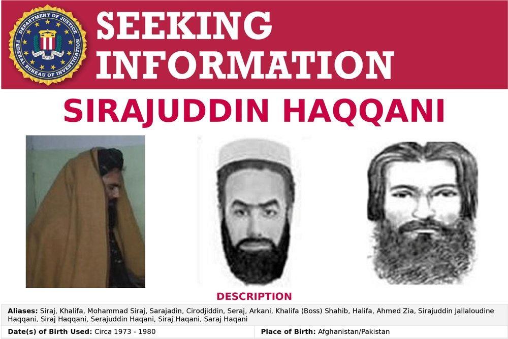 Det amerikanske forbundspolitis efterlysning af den nyudnævnte indenrigsminister i Afghanistan, Sirajuddin Haqqani.