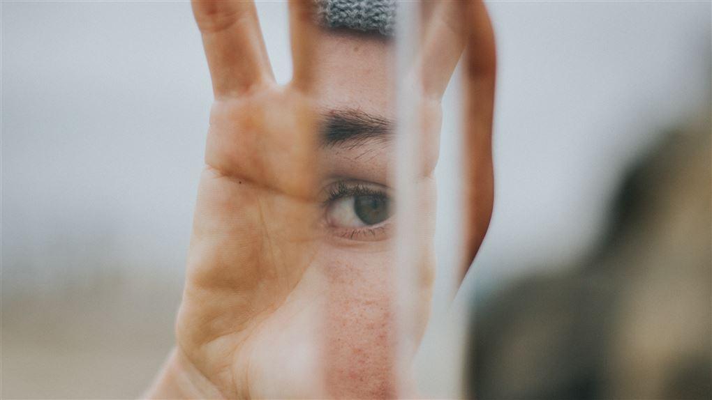 person holder et spejl