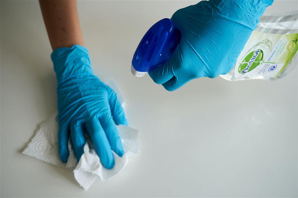 Et sæt hænder klædt i blå engangshandsker med en klud i den ene og en spray i den anden.