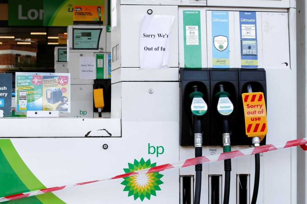 benzinstander på tankstation