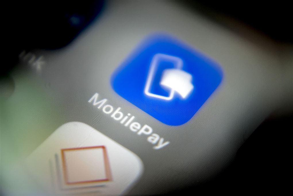 mobiltelefon med mobilepay-logo