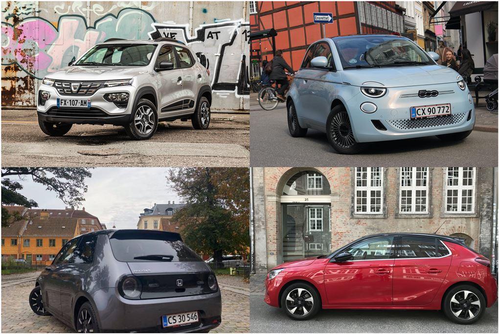 Fire små biler i en collage